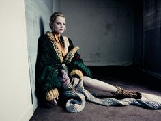 Guinevere Van Seenus wears knit cardigan and belt by Frances Knee; cream waistcoat by Missoni; emerald green knit jumper (worn underneath) by Isabel Maranet; crepe de chine scarf by Prada; ribbon belt by Maison Martin Margiela; knit boots by Chanel Paolo Roversi, Guinevere Van Seenus, Dazed Magazine, Pose, Mode Editorials, Fashion Editorials, Dazed And Confused, Textiles, Crochet Fashion
