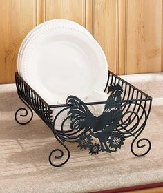 ROOSTER DISH RACK KITCHEN DECOR METAL Counter Top Drying Rack #Unbranded