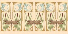 """Beautiful """"Dragonfly & Cattails"""" Art Nouveau Wallpaper Boarder. I'm madly in love with all the Vintage Patterns of Wall Papers, Boarders and Stationary found at carolmead.com carolmeaddesign@aol.com"""