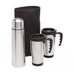 Lakeside Coffee set is the perfect corporate giveaway. This set comes with a stainless steel capacity vacuum flask and two fitting stainless steel travel mugs. Sleek and classy, this set comes with a black pouch to carry all the items. Engraving Printing, Laser Engraving, Corporate Giveaways, Thing 1, Vacuum Flask, Branded Gifts, Stainless Steel Travel Mug, Practical Gifts, Coffee Set