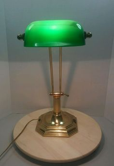 Vintage green glass brass bankers lamp round base adjustable shade vintage green shaded desk lamp banker piano library brass small shaded unique aloadofball Choice Image