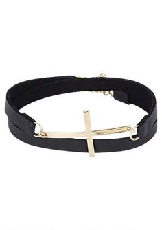 Cross Faux Leather Bracelet