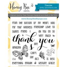 Honey Bee THANKS Clear Stamp Set HBST10