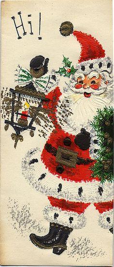 christmas Vintage Christmas Love this santa! Images Vintage, Vintage Christmas Images, Old Christmas, Old Fashioned Christmas, Retro Christmas, Vintage Holiday, Christmas Pictures, Christmas Greetings, Christmas Holidays
