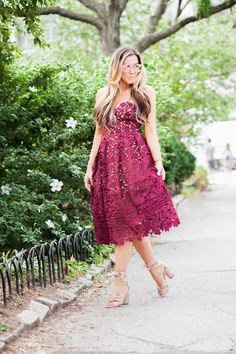 NYFW, burgundy lace dress