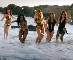 In sync: Fifth Harmony debuted their new music video for All In My Head (Flex) featuring Fetty Wap on Thursday The Brunette, Brunette Beauty, Old Singers, Female Singers, Fifth Harmony Lauren, Fith Harmony, Green Bodysuit, Dinah Jane, Latest Albums