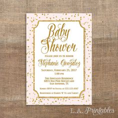 Pink and Gold Baby Shower Invitation Gold Glitter by LAPrintables