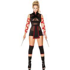 Ninja Striker Halloween Costume LAVELIQ ($59) ❤ liked on Polyvore featuring costumes, ninja halloween costume, white ninja costume, role play costumes, white halloween costumes and sexy cosplay costumes