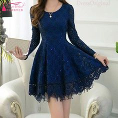 Find More Homecoming Dresses Information about Navy Blue Long Sleeve homecoming…