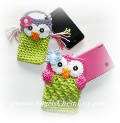 Crochet OWL Cell Phone Cozy and Nintendo DSi / 3DS / DS Lite Case Cozy