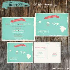 Hawaii islands Wedding Invitation and RSVP card by alacartestudio, $40.00