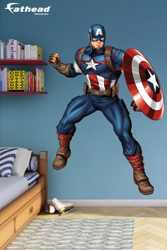 Save the day with these Avengers removable vinyl wall decals, featuring Captain America from Fathead. SHOP Superhero wall art decor at http://www.fathead.com/heroes/avengers-assemble/captain-america-avengers-assemble-wall-decal/   Home Decor On A Budget   Kids DIY Bedroom Decor   Peel + Stick Wall Murals   Superhero Bedroom