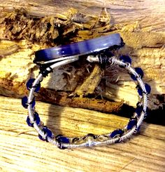 Wire and Swarovski crystals woven bangle with blue agate.
