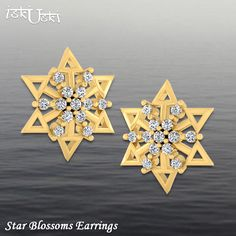 A stunning, Star Blossoms #Earrings in 14kt Yellow #Gold with a lustrous effect of #Diamonds