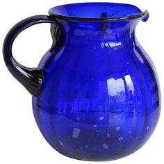 Hand-blown Large Glass Jug or Pitcher Cobalt Blue Vertically Fluted, Circa Glass Jug, Glass Pitchers, Cut Glass, Modern Pitchers, Glass Bottles, Cobalt Glass, Cobalt Blue, Vintage Glassware, Antique Glass