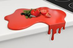 Red splash kitchen chopping board