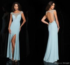 Cheap Evening Gowns - Discount Sleeves Halter Backless Beaded Slitted Floor Length Evening Online with $124.61/Piece   DHgate
