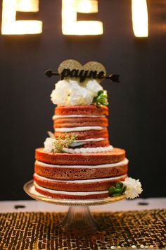 naked wedding cake, photo by Jenavieve Belair http://ruffledblog.com/glam-ace-hotel-wedding #weddingcake #cakes