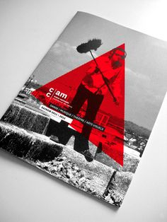 brochure, grayscale, color overlay, red, photography