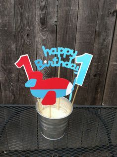 Airplane Birthday Centerpiece/Table Decorations by PoppopsPeanut, $9.50