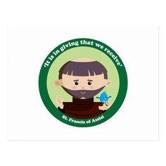 A cute and happy St. Francis of Assisi icon to bring love, joy and hope to your loved ones and yourself. Francis Of Assisi, St Francis, First Love, Saints, Joy, Happy, Cute, Fictional Characters, Products