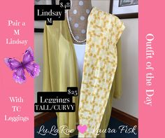 Outfit of the day: Today I'm thinking about spring while a blizzard rages outside my window! This outfit is so perfect for warmer weather! This sheer mustard M Lindsay pairs up nicely with these TC leggings. Add a white classic and you've got a gorgeous outfit! If you're interested in this outfit, check out my group (link is in my bio) or PM me for more details.