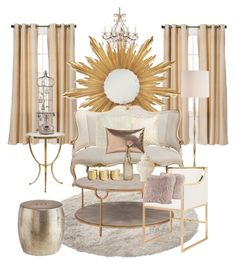 Classic Nude and Gold by aedwish on Polyvore featuring polyvore, interior, interiors, interior design, home, home decor, interior decorating, Worlds Away, Arteriors, Pier 1 Imports, Jonathan Charles Fine Furniture, CB2, Illume, Eclipse and Cultural Intrigue Interior Decorating, Interior Design, Pier 1 Imports, Fine Furniture, Chandelier, Nude, Ceiling Lights, Interiors, Classic