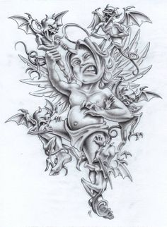 Fight The Good Fight by markfellows on DeviantArt Angel Tattoo Designs, Skull Tattoo Design, Skull Tattoos, Body Art Tattoos, Sleeve Tattoos, Tatoos, Jester Tattoo, Demon Tattoo, Arm Tattoo