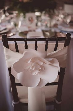A Lovely Floral Wedding In New Brunswick Unique floral chair decor. Paper Flower Wall, Paper Flower Backdrop, Paper Flowers, Wedding Chair Decorations, Wedding Chairs, Wedding Table Covers, Floral Chair, Festa Party, Floral Wedding