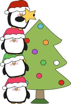 cute christmas tree clip art   ... Christmas Tree Clip Art - Penguins Putting a Star on a Christmas Tree