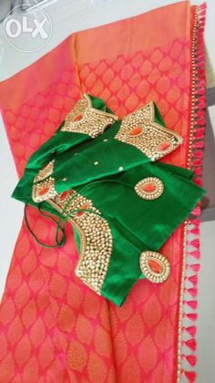 contrast blouse for pink saree - Google Search