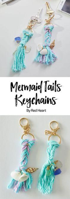 Schlüsselanhänger für echte Meerjungfrauen! Super Idee - und kann in allen möglichen Farben ausprobiert werden! #DIY #Mermaid