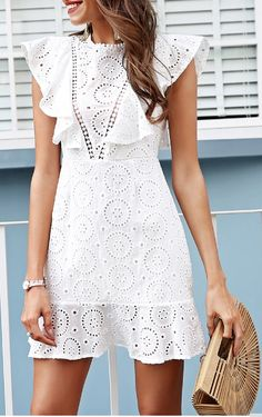 Simplee Embroidery cotton white dress women Ruffle sleeve high waist short dress 2018 Keyhole back casual dress female vestidos Beautiful White Dresses, White Dresses For Women, Trendy Dresses, Casual Dresses, Short Dresses, Prom Dresses, Boho Summer Outfits, Summer Dresses, Outfit Summer