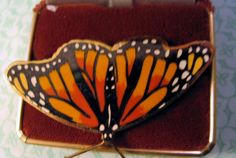 Vintage 1990 William Spear Handmade Enamel Butterfly Brooch Pin Figural Insect…