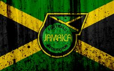 Download wallpapers Jamaica national football team, 4k, emblem, grunge, North America, football, stone texture, soccer, Jamaica, logo, North American national teams