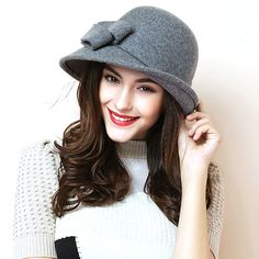 2015 New Autumn Winter Noble European American Elegant Girls Fashion Cap Ladies Bucket Hat Women Wool Fedora Hat