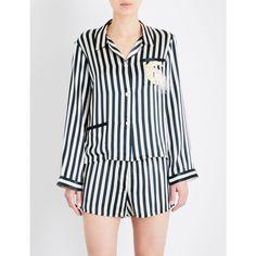 Morgan Lane Moon Ruthie silk pyjama shirt ($410) ❤ liked on Polyvore featuring intimates, sleepwear, pajamas, silk babydoll lingerie, striped pajamas, long sleeve lingerie, baby doll lingerie and long sleeve pajamas