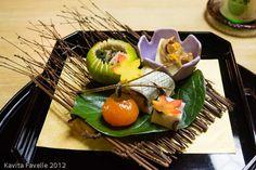 A multi course kaiseki feast at a ryokan in Nara, near Kyoto, Japan