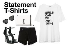 """Say What: Statement T-Shirts"" by sarah-who ❤ liked on Polyvore featuring rag & bone, Giuseppe Zanotti, Yves Saint Laurent, Prada, contestentry and statementtshirt"
