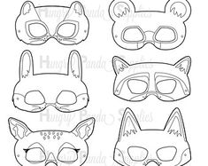 Woodland Forest Animals Printable Masks by HappilyAfterDesigns Raccoon Mask, Fox Mask, Forest Animals, Woodland Animals, Jungle Animals, Printable Masks, Printables, Mascaras Halloween, Bear Mask