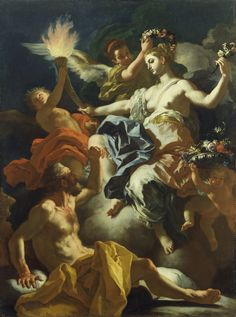 """Aurora Taking Leave of Tithonus,"" Francesco Solimena, 1704. After seducing Tithonus when he was young and beautiful, Aurora asked Zeus to grant him immortality, but she forgot to ask for eternal youth as well. Every morning, the eternally youthful goddess had to rise and bid goodbye to Tithonus, who grows older each day."