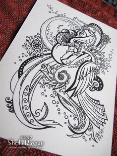 Doodle Bird - original ink drawing. $50.00, via Etsy.