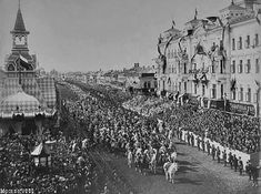 The Tsar, according to the tradition, enters the old capital through the Tversky Gate on a white horse with silver horseshoes, Coronation Day, 1896.