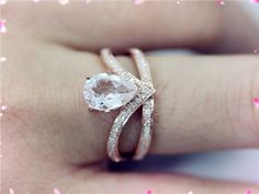 14K Rose Gold Morganite Ring Engagement Ring Pear by LoveGemArts