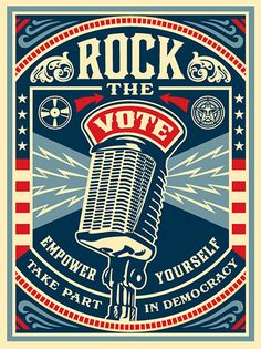 Rock the Vote / Shepard Fairey Obey Psychedelic Hippie Peace Art Poster ~ ☮~ღ~*~*✿⊱ レ o √ 乇 ! ~ Shepard Fairey is a street artist who originally became known for his Andre the Giant posters in many cities across the USA. Political Posters, Political Art, Voting Posters, Political Images, Shepard Fairey Obey, Fantasy Anime, Rock The Vote, Arte Pop, Art Graphique