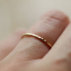 14k Yellow Gold Stacking Ring Hammered Band. $75.00, Want 2 of these to put on either side of my wedding ring!