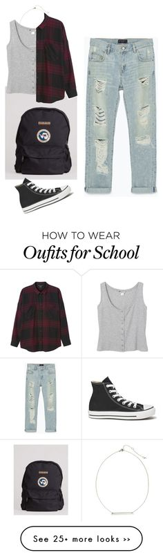 """Back to school"" by laila0099 on Polyvore featuring Napapijri, Zara, Monki, H&M and Converse"
