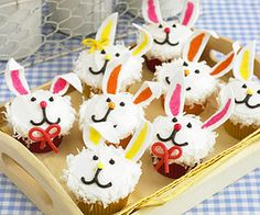 Delicious Spring Desserts: Bunny Cupcakes, Carrot Krispie Treats, Lamb Cake, Easter Egg Cookies, and more! Easter Bunny Cupcakes, Cute Cupcakes, Easter Treats, Mocha Cupcakes, Gourmet Cupcakes, Strawberry Cupcakes, Velvet Cupcakes, Flower Cupcakes, Easter Food