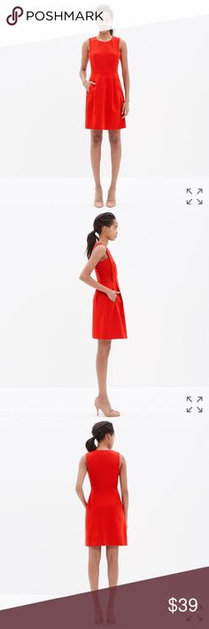 """Madewell Red Abroad Dress Sophisticated and subtly stretchy, this ponte dress with pockets is a definite day-or-night deal. We love the cool, slightly sculptural lines.    True to size, waisted. Falls 35 1/2"""" from shoulder. Cotton/nylon/spandex. Pockets. Machine wash. Import. Very good condition with normal wear. Madewell Dresses"""