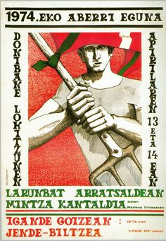 Afitxa Aberri eguna 1974 Basque Country, Illustrations, War, Baseball Cards, Cover, Movie Posters, Image, Countries, Politics